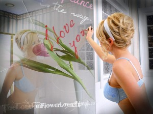 female self love with flowers