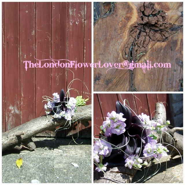 wood and cala lily flowers collage