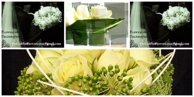 white classic flowers Collage