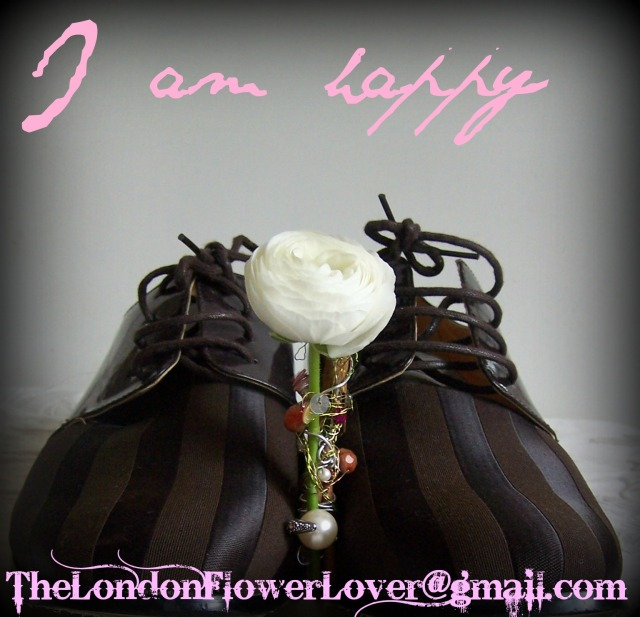 I am happy shoes and flowers
