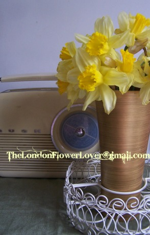 Daffodils and vintage radio