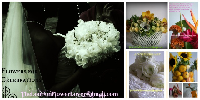 The London Flower Lover marriage and wedding anniversary collage