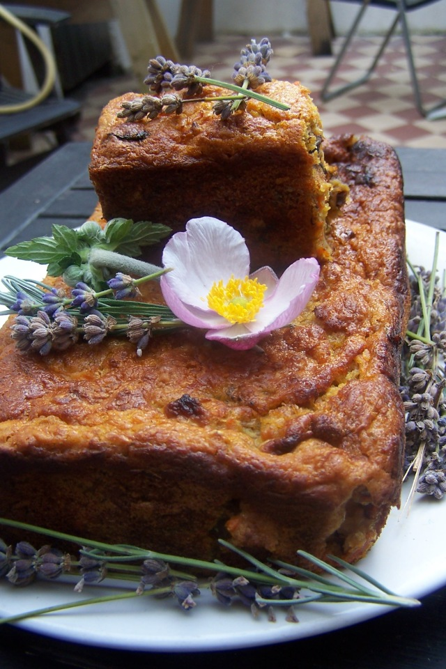Carrot oats and lavender cake
