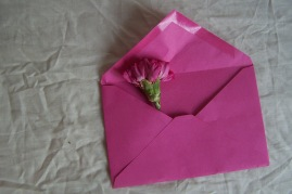 pink envelope and pink flower the London flower lover