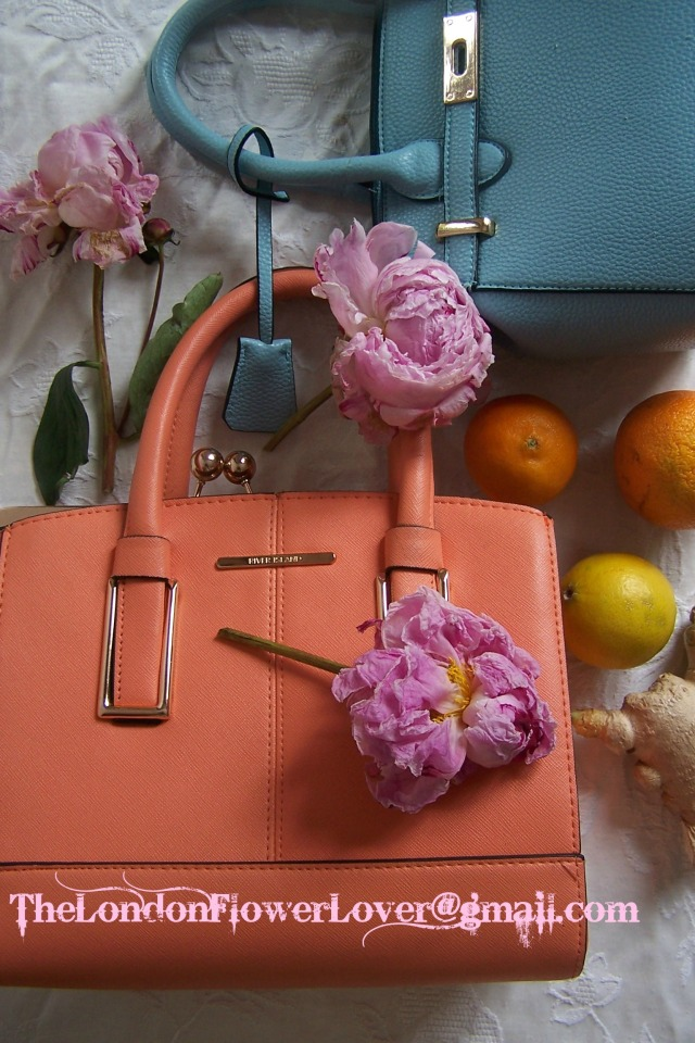 peonies and bags