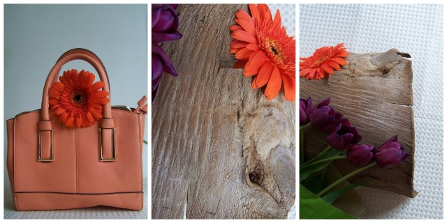 Orange Gerbera and bag purple tulips The london Flower LoverCollage