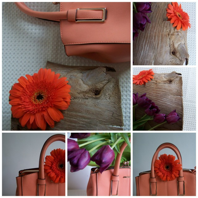 Orange Gerbera and Handbag with purple tulips Collage
