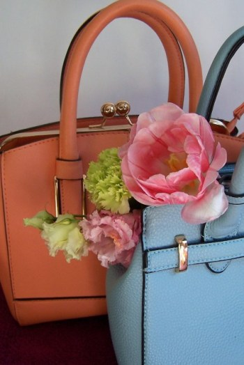 Orange and Blue handbag and flowers The London Flower Lover
